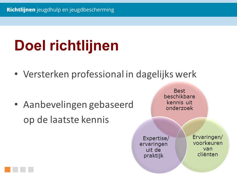 Doel richtlijnen Versterken professional in dagelijks werk Aanbevelingen gebaseerd op de laatste kennis Best beschikbare kennis uit onderzoek Ervaringen/ voorkeuren van cliënten Expertise/ ervaringen uit de praktijk