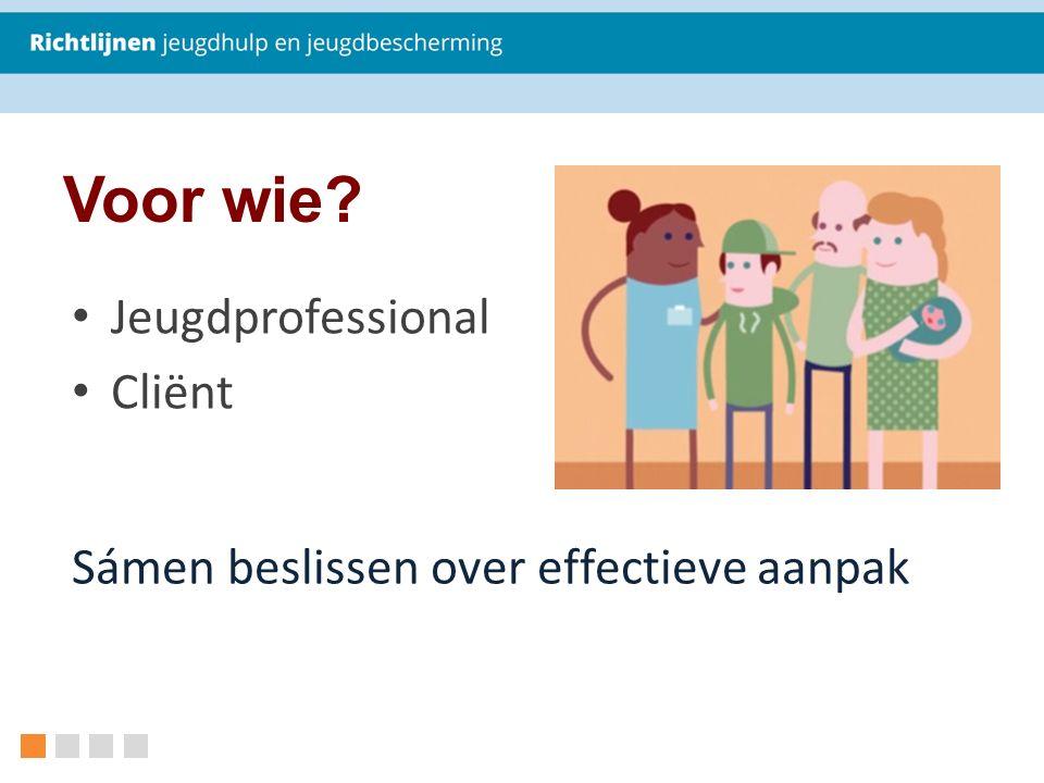 Voor wie Jeugdprofessional Cliënt Sámen beslissen over effectieve aanpak