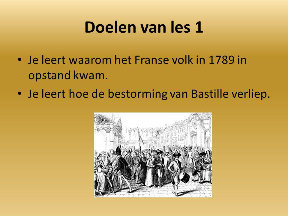 Doelen van les 1 Je leert waarom het Franse volk in 1789 in opstand kwam.