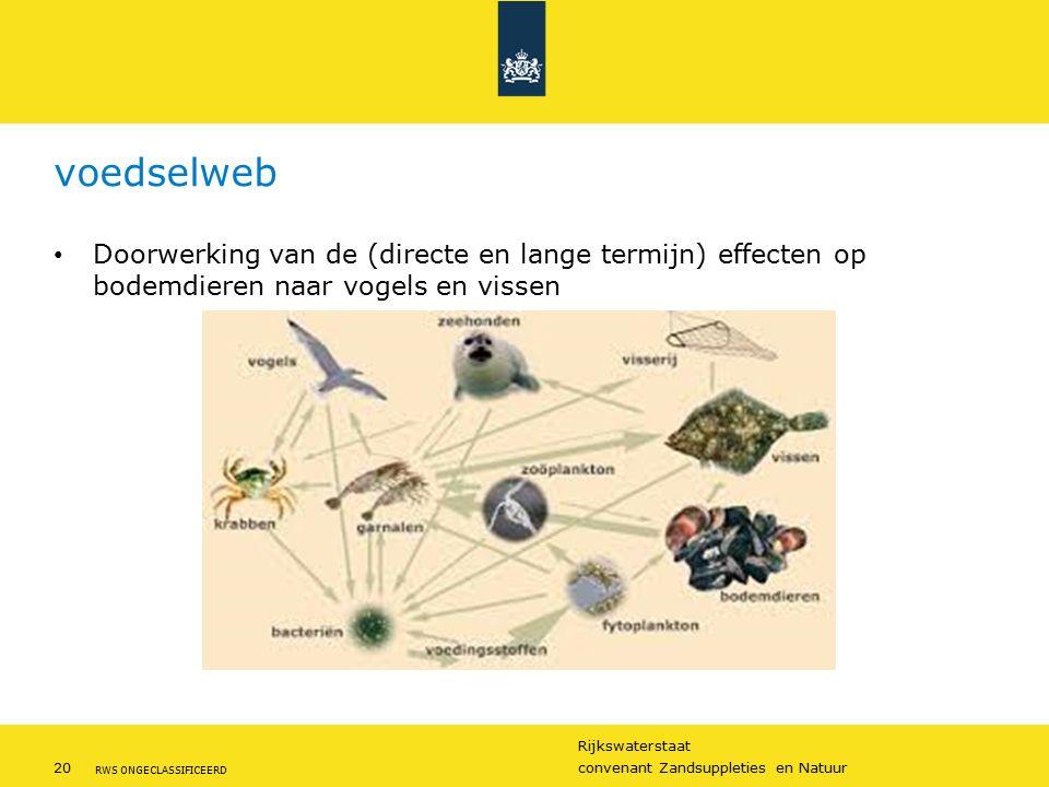 Rijkswaterstaat 20convenant Zandsuppleties en Natuur RWS ONGECLASSIFICEERD voedselweb Doorwerking van de (directe en lange termijn) effecten op bodemdieren naar vogels en vissen