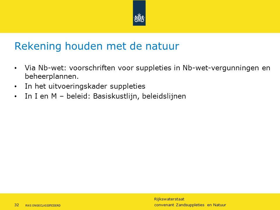 Rijkswaterstaat 32convenant Zandsuppleties en Natuur RWS ONGECLASSIFICEERD Rekening houden met de natuur Via Nb-wet: voorschriften voor suppleties in Nb-wet-vergunningen en beheerplannen.