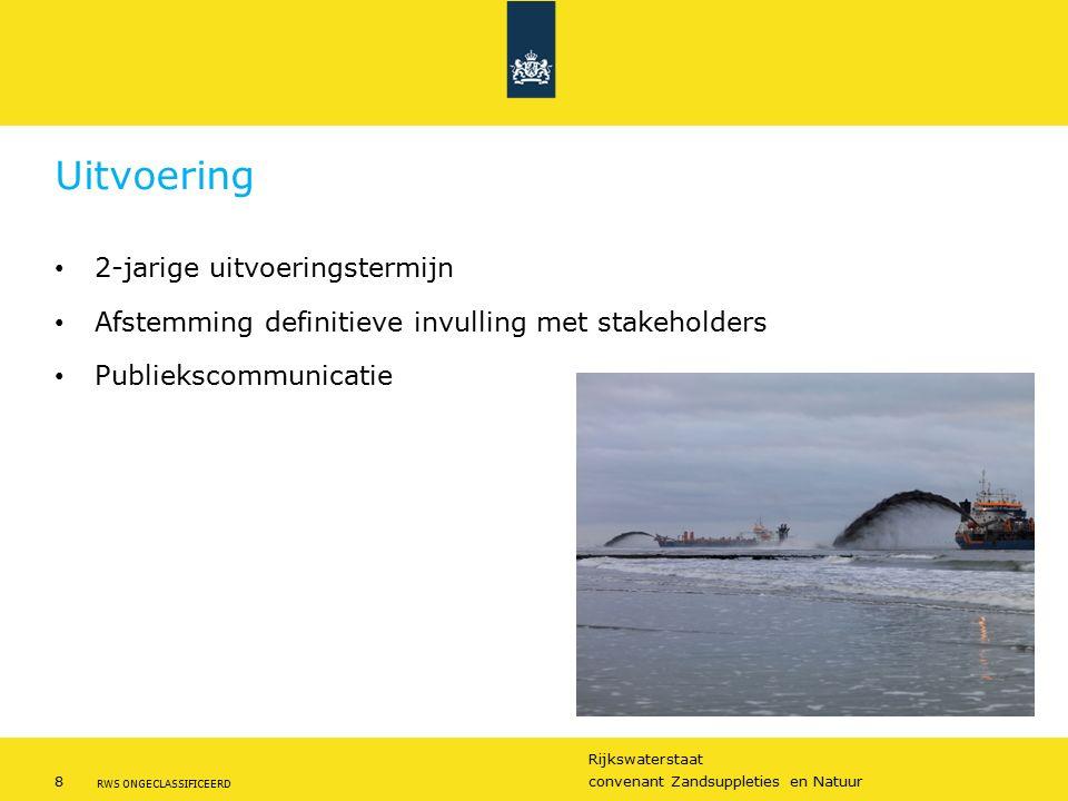 Rijkswaterstaat 8convenant Zandsuppleties en Natuur RWS ONGECLASSIFICEERD Uitvoering 2-jarige uitvoeringstermijn Afstemming definitieve invulling met stakeholders Publiekscommunicatie