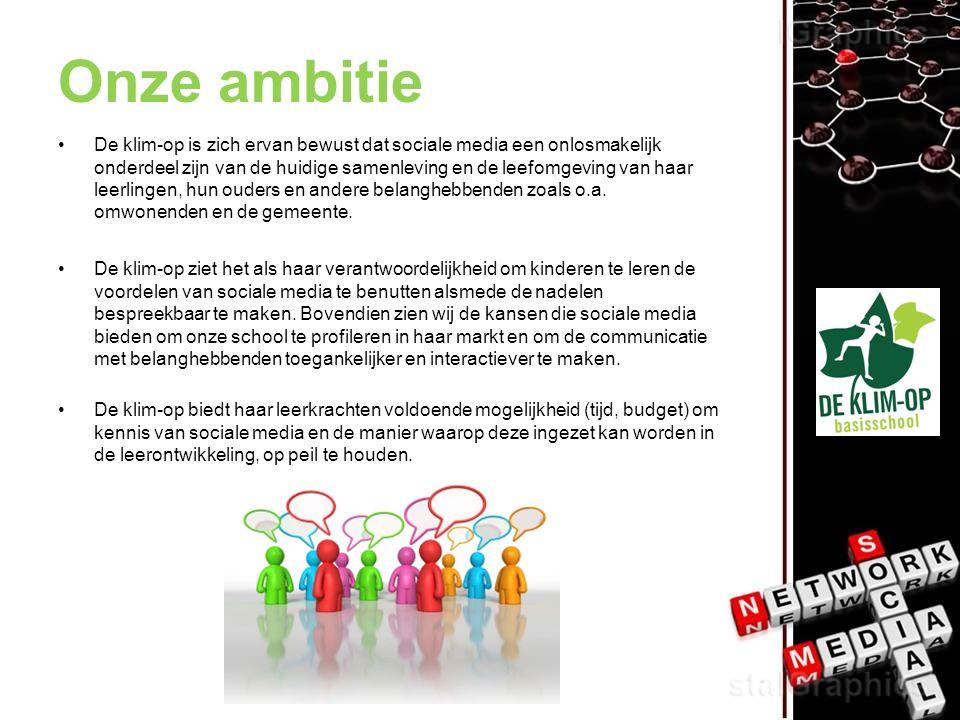Onze ambitie De klim-op is zich ervan bewust dat sociale media een onlosmakelijk onderdeel zijn van de huidige samenleving en de leefomgeving van haar leerlingen, hun ouders en andere belanghebbenden zoals o.a.