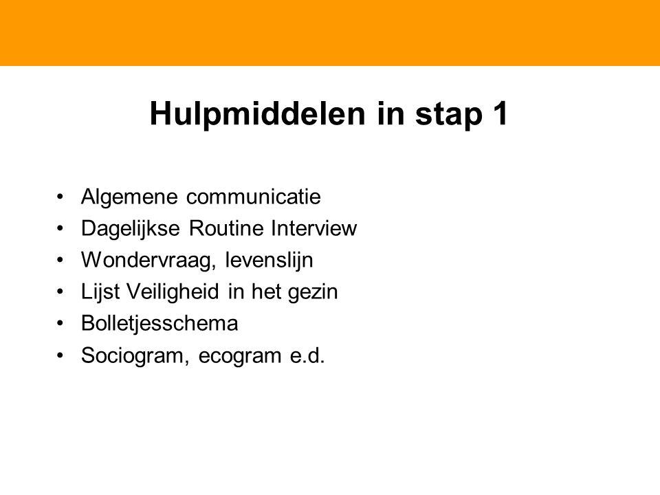 Hulpmiddelen in stap 1 Algemene communicatie Dagelijkse Routine Interview Wondervraag, levenslijn Lijst Veiligheid in het gezin Bolletjesschema Sociogram, ecogram e.d.