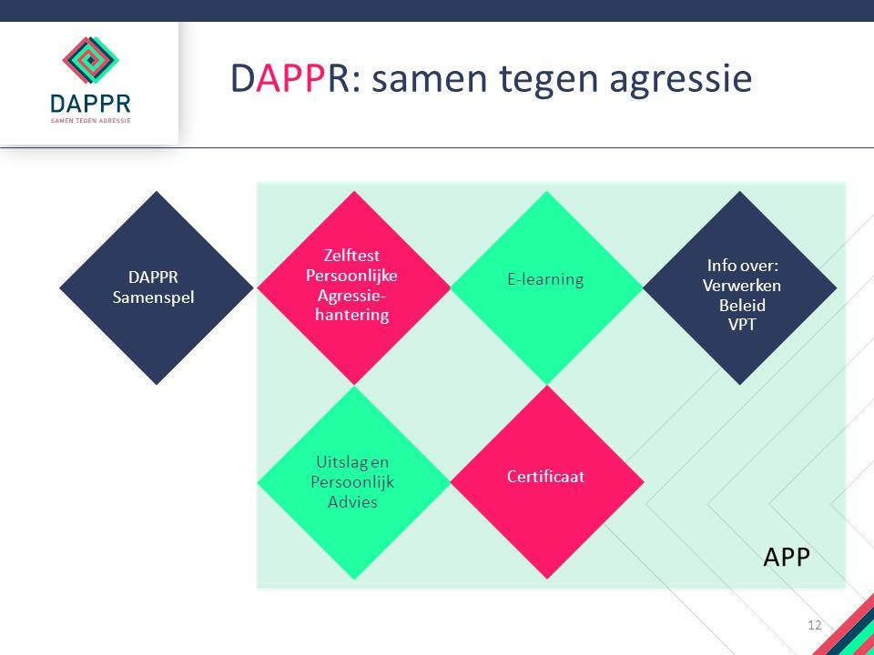 DAPPR: samen tegen agressie 12 Zelftest Persoonlijke Agressie- hantering E-learning Info over: Verwerken Beleid VPT DAPPR Samenspel Uitslag en Persoonlijk Advies Certificaat APP