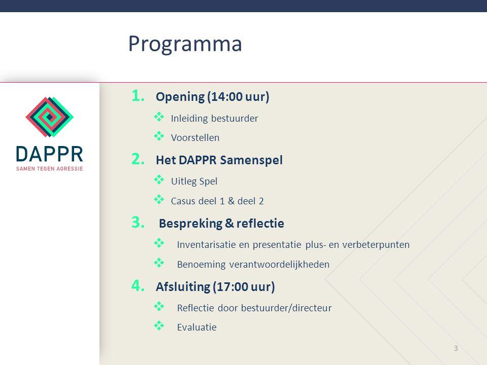 Programma 1.1. Opening (14:00 uur)  Inleiding bestuurder  Voorstellen 2.