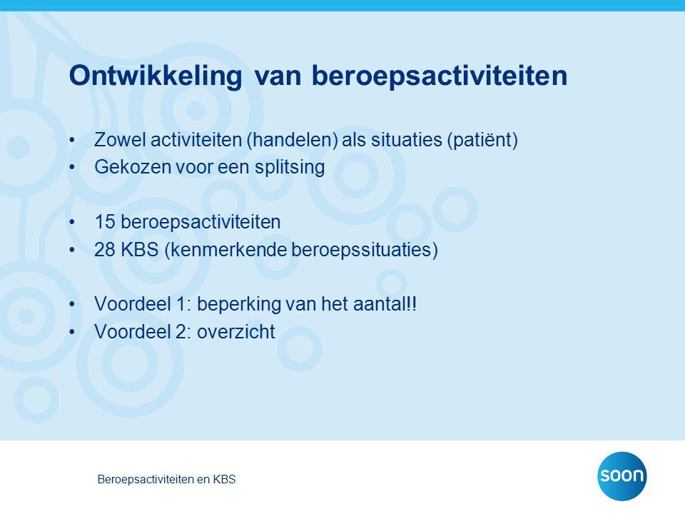 Ontwikkeling van beroepsactiviteiten Zowel activiteiten (handelen) als situaties (patiënt) Gekozen voor een splitsing 15 beroepsactiviteiten 28 KBS (k
