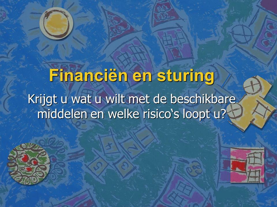Financiën en sturing Krijgt u wat u wilt met de beschikbare middelen en welke risico's loopt u?