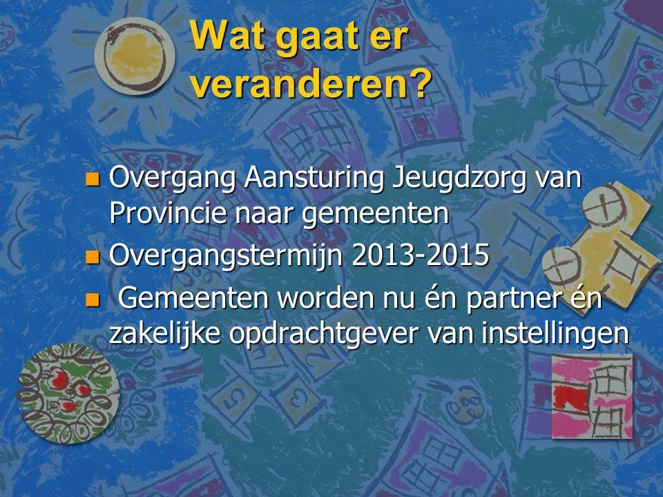 Wat gaat er veranderen? n Overgang Aansturing Jeugdzorg van Provincie naar gemeenten n Overgangstermijn 2013-2015 n Gemeenten worden nu én partner én
