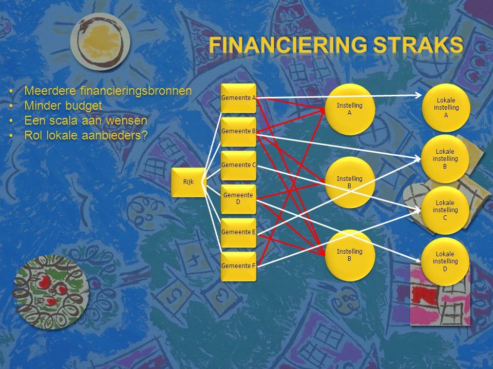 Rijk Gemeente A Gemeente B Gemeente C Gemeente D Gemeente E Gemeente F Instelling A Instelling B Meerdere financieringsbronnen Minder budget Een scala aan wensen Rol lokale aanbieders.