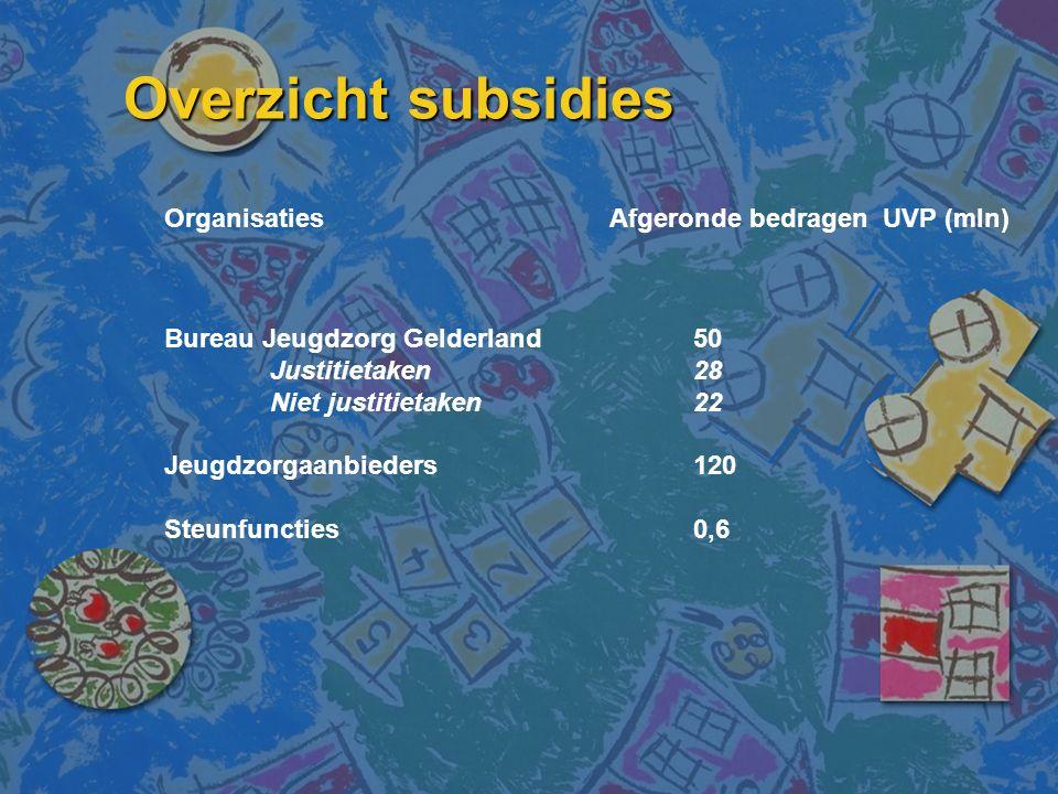 Overzicht subsidies Organisaties Afgeronde bedragen UVP (mln) Bureau Jeugdzorg Gelderland50 Justitietaken28 Niet justitietaken22 Jeugdzorgaanbieders120 Steunfuncties0,6