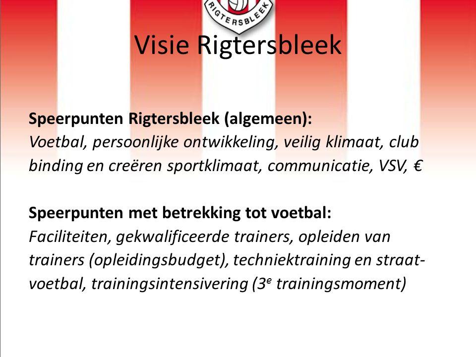 Visie Rigtersbleek Speerpunten Rigtersbleek (algemeen): Voetbal, persoonlijke ontwikkeling, veilig klimaat, club binding en creëren sportklimaat, comm