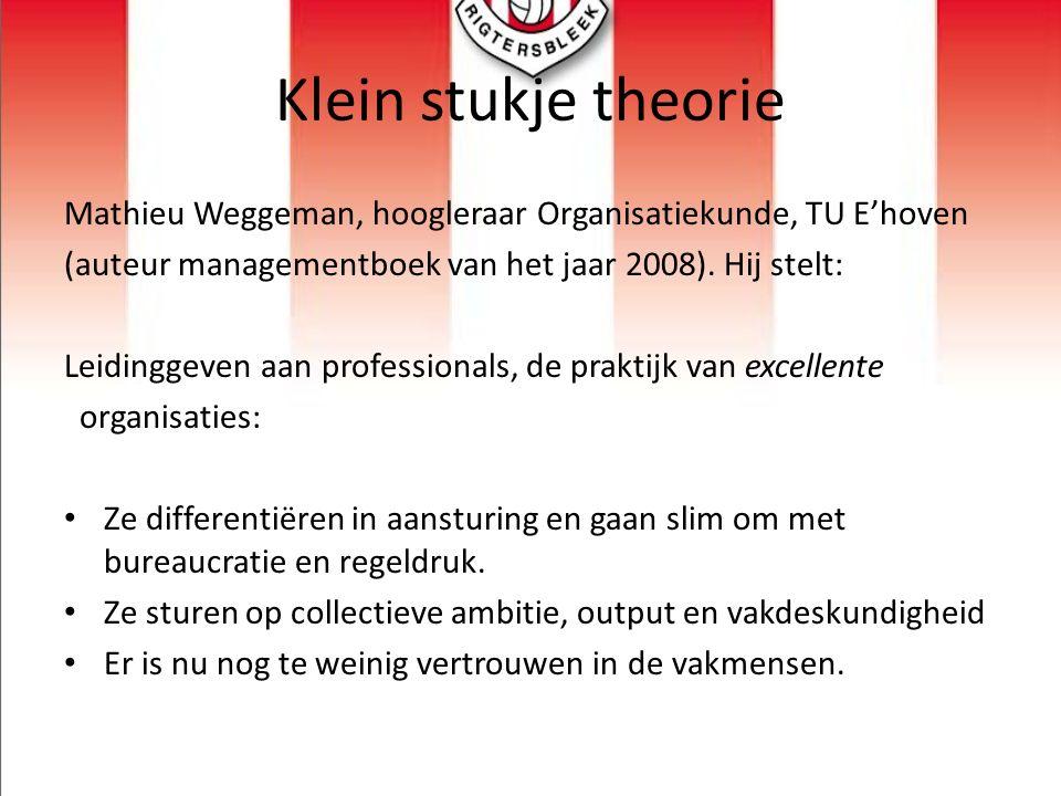 Klein stukje theorie Mathieu Weggeman, hoogleraar Organisatiekunde, TU E'hoven (auteur managementboek van het jaar 2008). Hij stelt: Leidinggeven aan