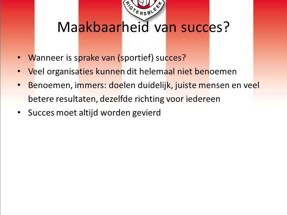 Maakbaarheid van succes? Wanneer is sprake van (sportief) succes? Veel organisaties kunnen dit helemaal niet benoemen Benoemen, immers: doelen duideli