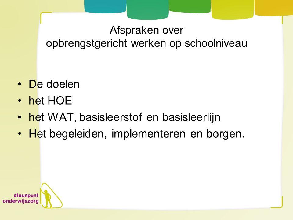 Afspraken over opbrengstgericht werken op schoolniveau De doelen het HOE het WAT, basisleerstof en basisleerlijn Het begeleiden, implementeren en borg