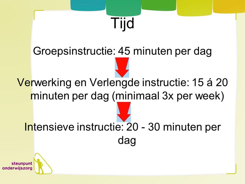 Tijd Groepsinstructie: 45 minuten per dag Verwerking en Verlengde instructie: 15 á 20 minuten per dag (minimaal 3x per week) Intensieve instructie: 20
