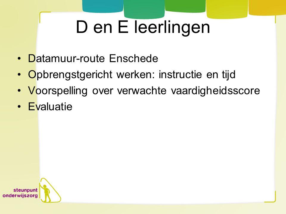 D en E leerlingen Datamuur-route Enschede Opbrengstgericht werken: instructie en tijd Voorspelling over verwachte vaardigheidsscore Evaluatie