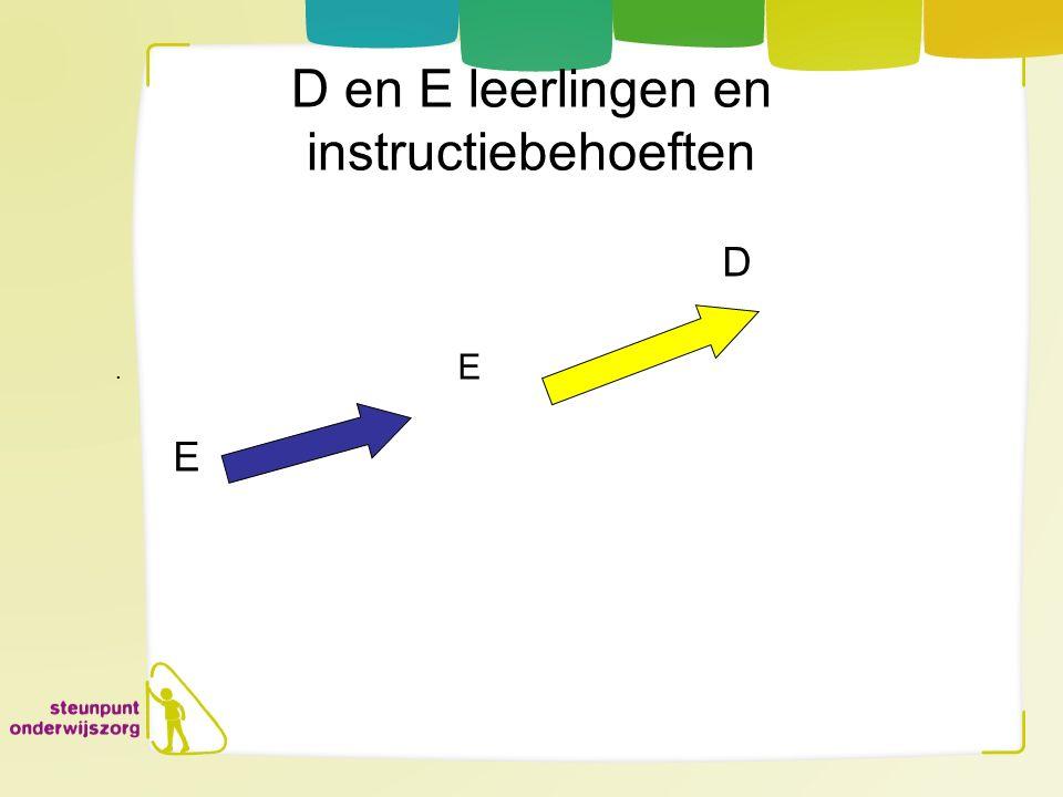 D en E leerlingen en instructiebehoeften D. E E