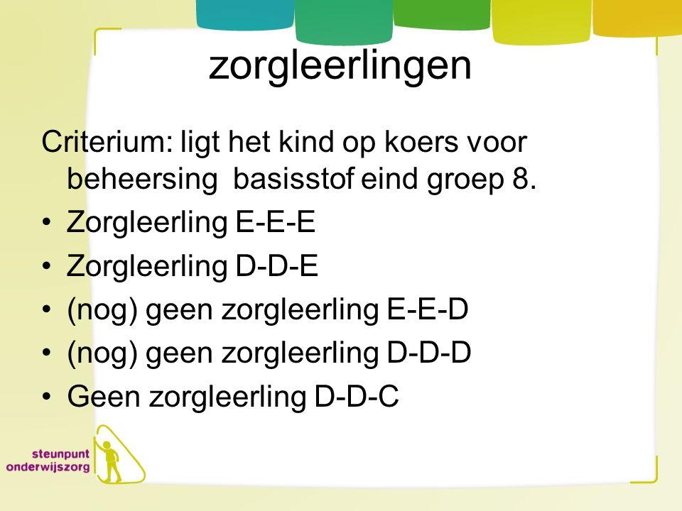 zorgleerlingen Criterium: ligt het kind op koers voor beheersing basisstof eind groep 8. Zorgleerling E-E-E Zorgleerling D-D-E (nog) geen zorgleerling