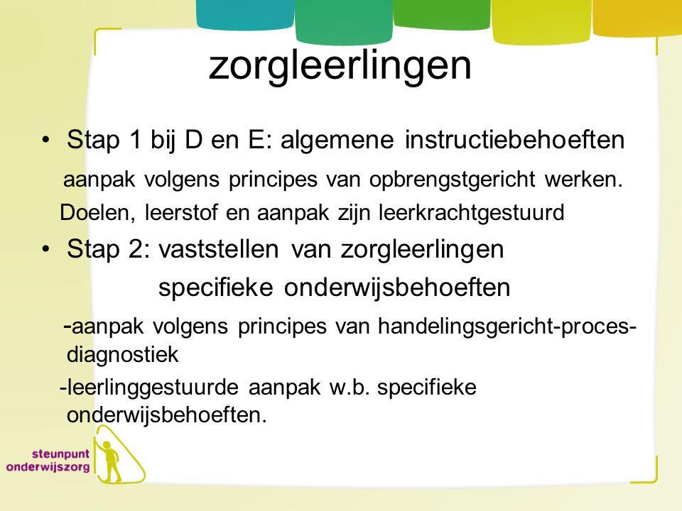 zorgleerlingen Stap 1 bij D en E: algemene instructiebehoeften aanpak volgens principes van opbrengstgericht werken. Doelen, leerstof en aanpak zijn l