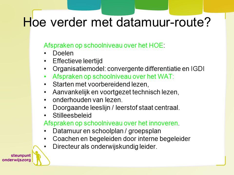 Hoe verder met datamuur-route? Afspraken op schoolniveau over het HOE: Doelen Effectieve leertijd Organisatiemodel: convergente differentiatie en IGDI