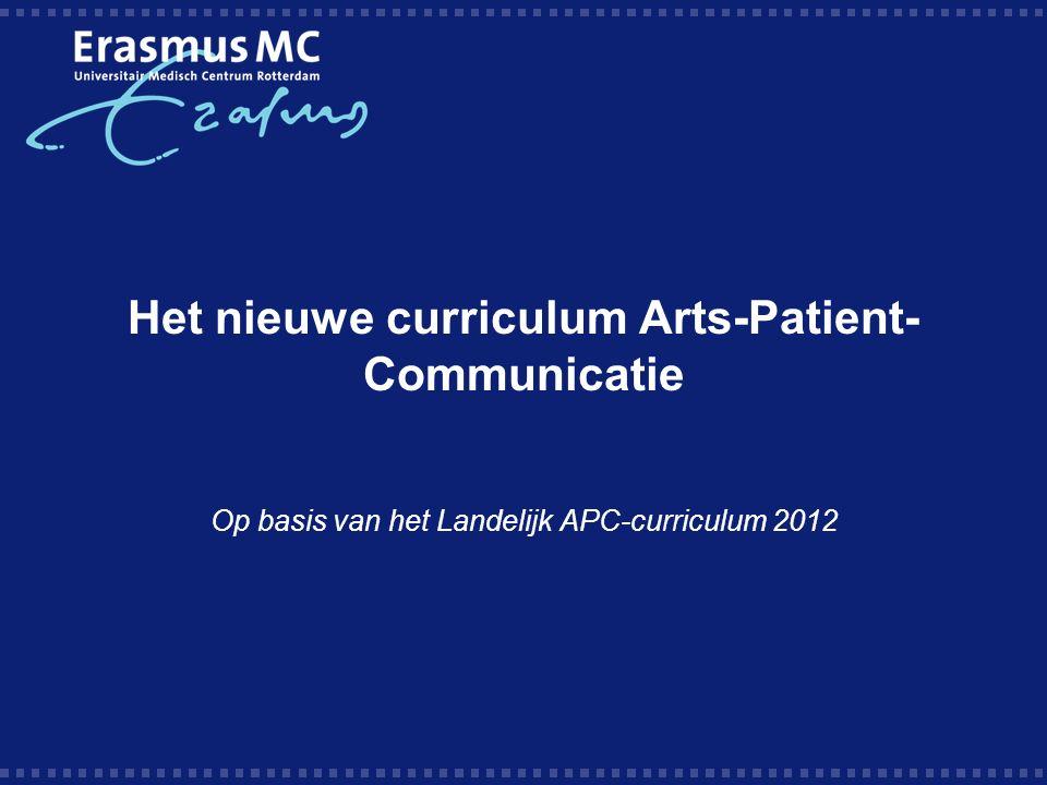 Het nieuwe curriculum Arts-Patient- Communicatie Op basis van het Landelijk APC-curriculum 2012