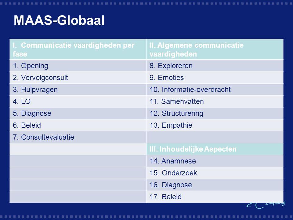 MAAS-Globaal I. Communicatie vaardigheden per fase II.