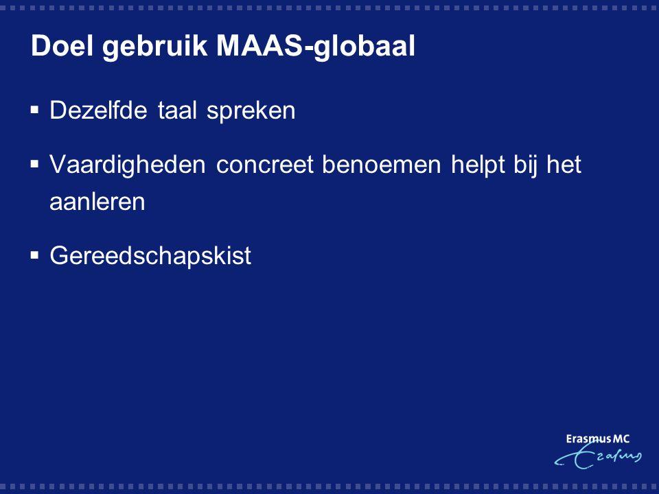 Doel gebruik MAAS-globaal  Dezelfde taal spreken  Vaardigheden concreet benoemen helpt bij het aanleren  Gereedschapskist