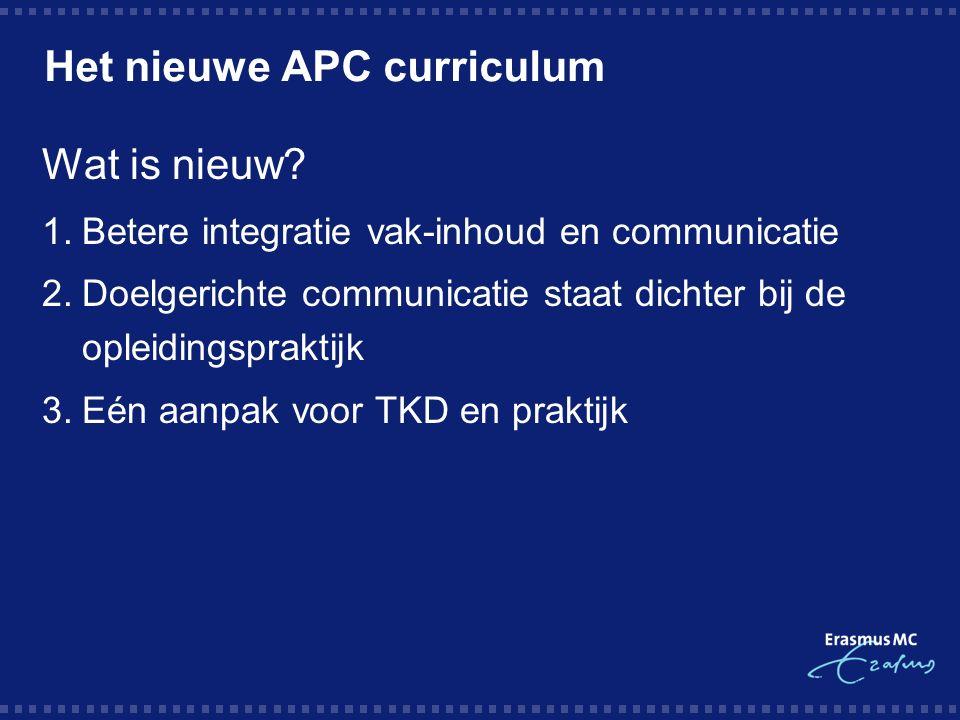 Het nieuwe APC curriculum Wat is nieuw.