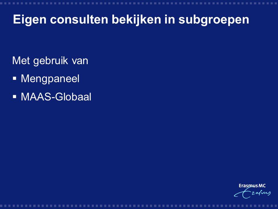 Eigen consulten bekijken in subgroepen Met gebruik van  Mengpaneel  MAAS-Globaal
