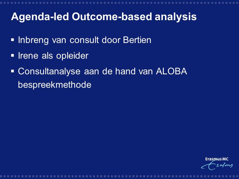 Agenda-led Outcome-based analysis  Inbreng van consult door Bertien  Irene als opleider  Consultanalyse aan de hand van ALOBA bespreekmethode