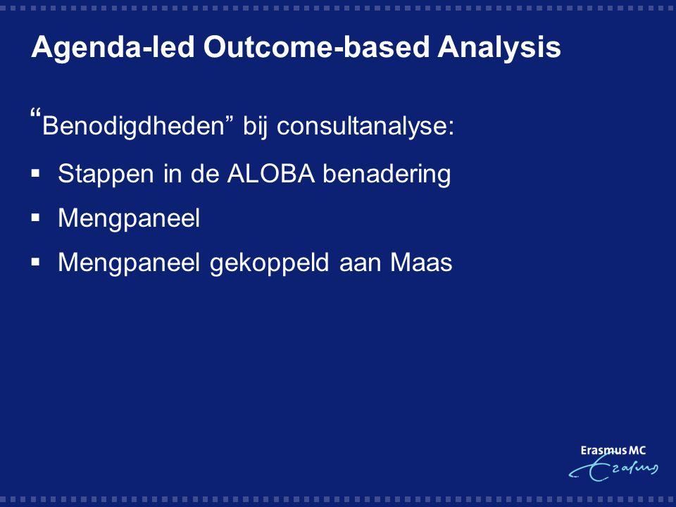 Agenda-led Outcome-based Analysis Benodigdheden bij consultanalyse:  Stappen in de ALOBA benadering  Mengpaneel  Mengpaneel gekoppeld aan Maas
