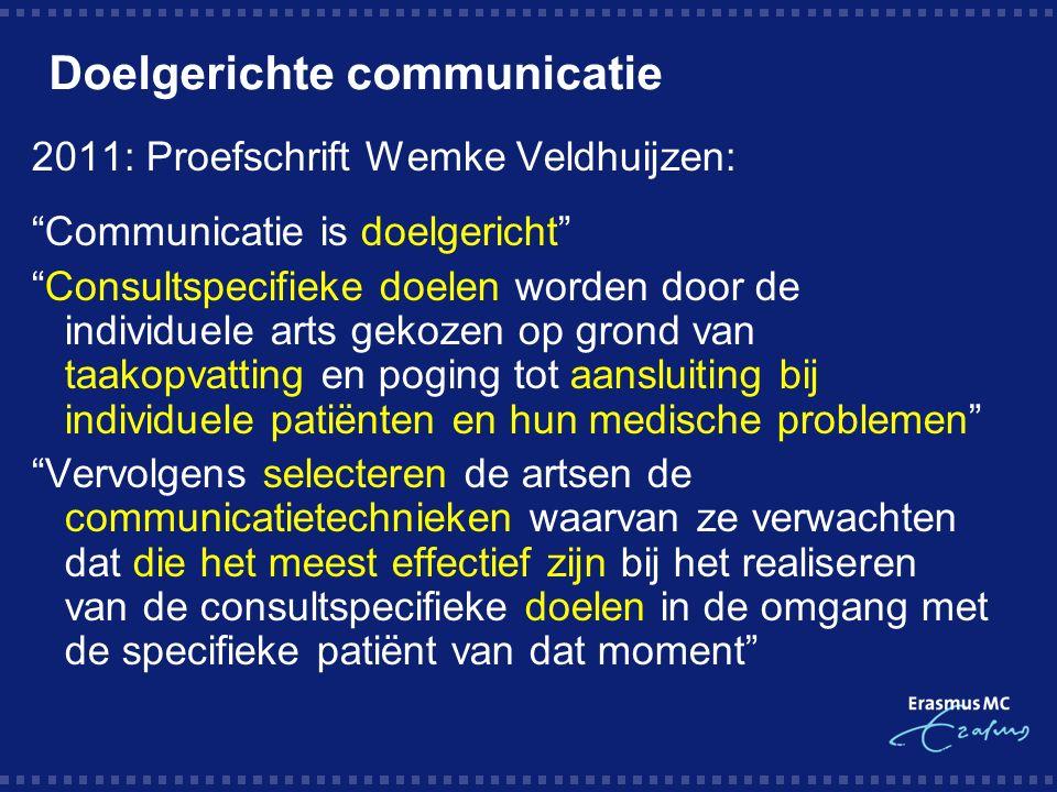 Doelgerichte communicatie 2011: Proefschrift Wemke Veldhuijzen: Communicatie is doelgericht Consultspecifieke doelen worden door de individuele arts gekozen op grond van taakopvatting en poging tot aansluiting bij individuele patiënten en hun medische problemen Vervolgens selecteren de artsen de communicatietechnieken waarvan ze verwachten dat die het meest effectief zijn bij het realiseren van de consultspecifieke doelen in de omgang met de specifieke patiënt van dat moment