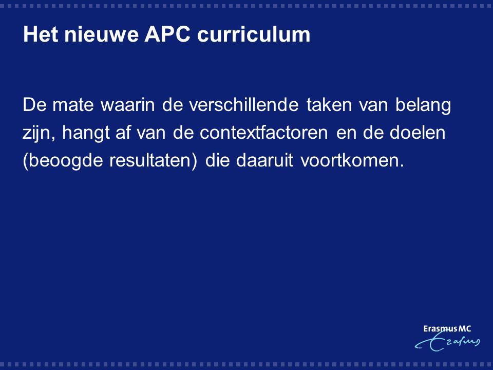 Het nieuwe APC curriculum De mate waarin de verschillende taken van belang zijn, hangt af van de contextfactoren en de doelen (beoogde resultaten) die daaruit voortkomen.