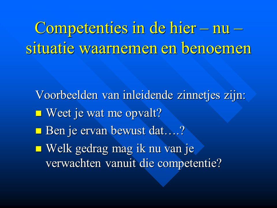 Competenties in de hier – nu – situatie waarnemen en benoemen Voorbeelden van inleidende zinnetjes zijn: Weet je wat me opvalt? Weet je wat me opvalt?