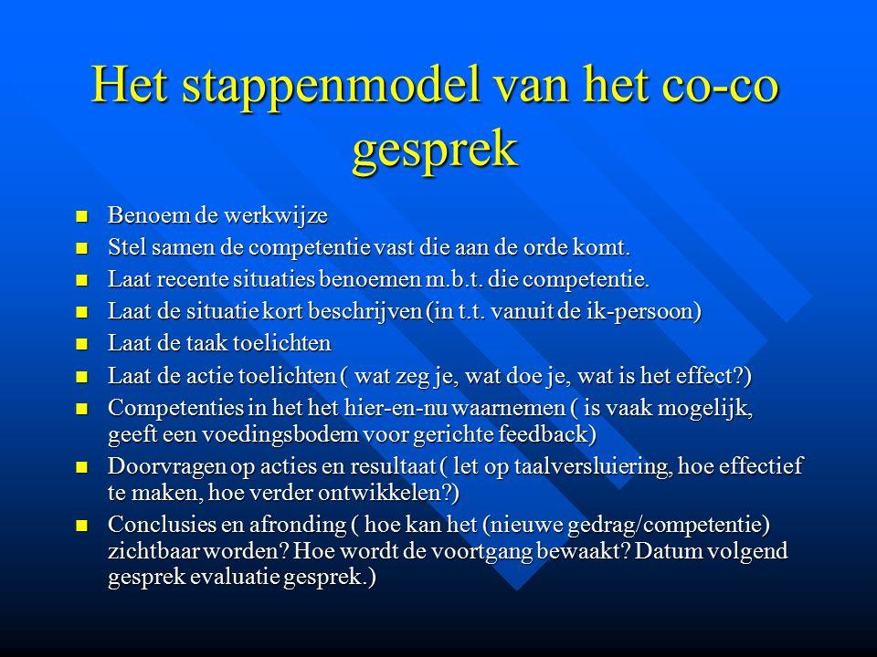 Het stappenmodel van het co-co gesprek Benoem de werkwijze Benoem de werkwijze Stel samen de competentie vast die aan de orde komt. Stel samen de comp