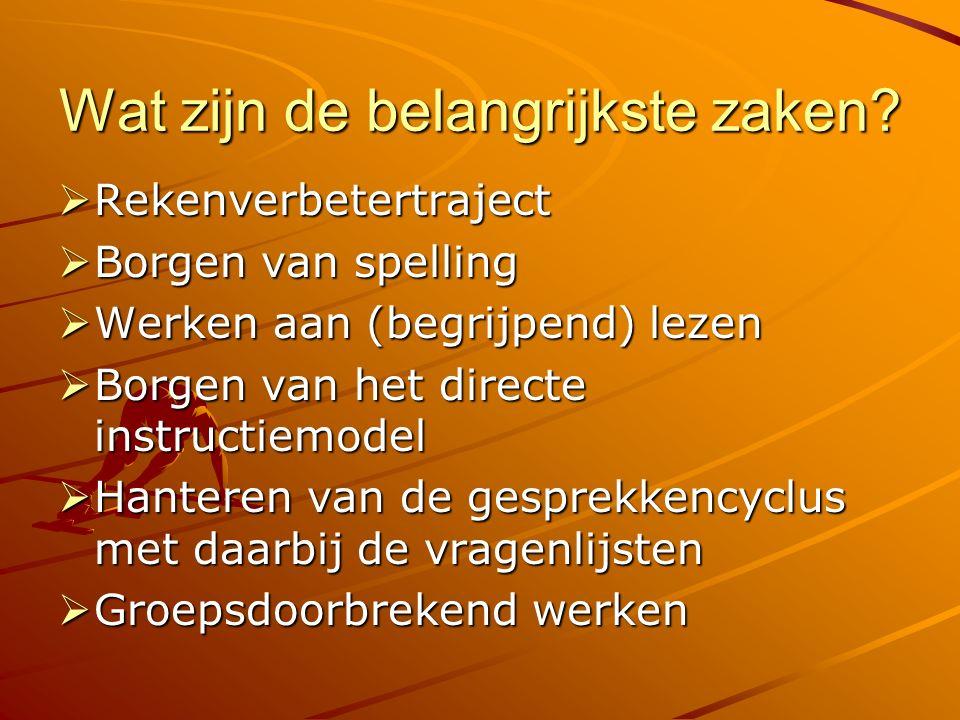 Wat zijn de belangrijkste zaken?  Rekenverbetertraject  Borgen van spelling  Werken aan (begrijpend) lezen  Borgen van het directe instructiemodel