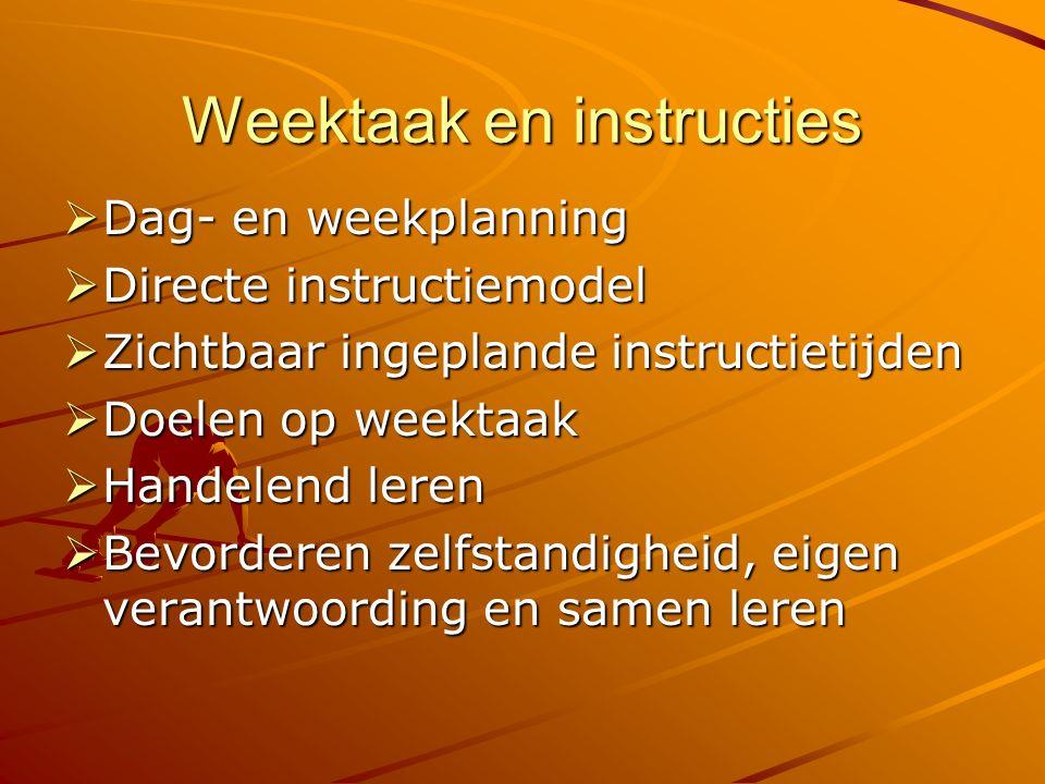 Weektaak en instructies  Dag- en weekplanning  Directe instructiemodel  Zichtbaar ingeplande instructietijden  Doelen op weektaak  Handelend leren  Bevorderen zelfstandigheid, eigen verantwoording en samen leren