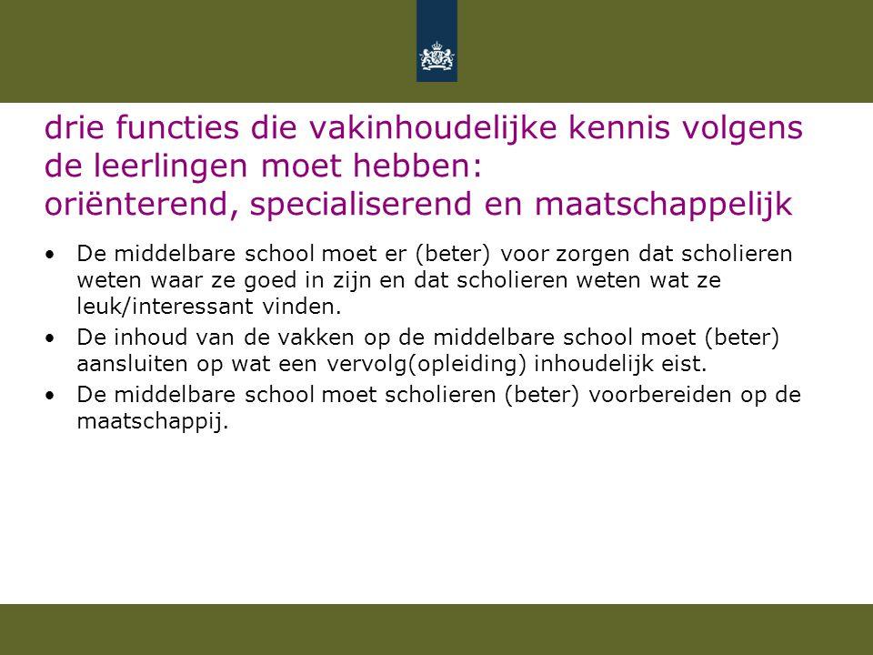 drie functies die vakinhoudelijke kennis volgens de leerlingen moet hebben: oriënterend, specialiserend en maatschappelijk De middelbare school moet e