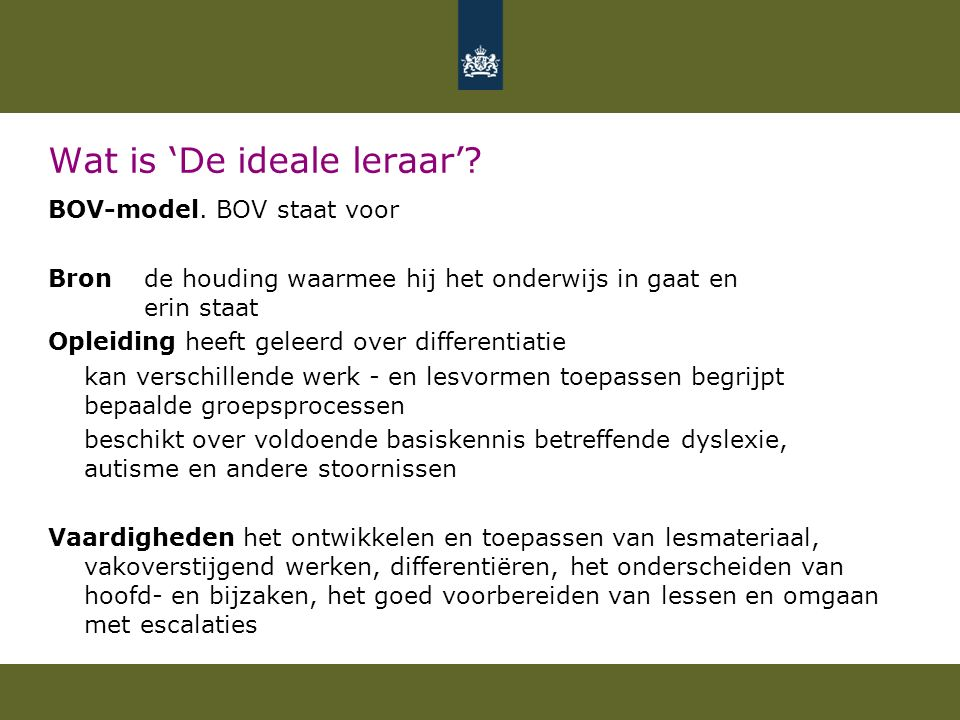 Wat is 'De ideale leraar'.BOV-model.