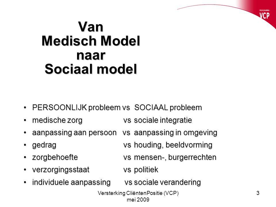 Versterking CliëntenPositie (VCP) mei 2009 3 Van Medisch Model naar Sociaal model PERSOONLIJK probleem vs SOCIAAL probleemPERSOONLIJK probleem vs SOCI