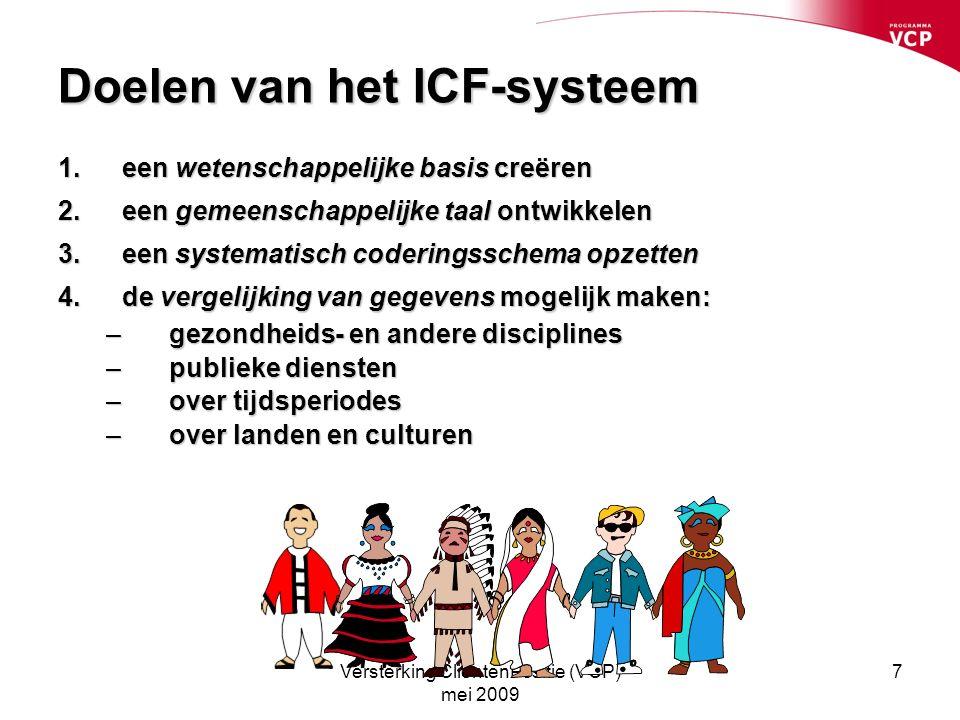 Versterking CliëntenPositie (VCP) mei 2009 7 Doelen van het ICF-systeem 1.een wetenschappelijke basis creëren 2.een gemeenschappelijke taal ontwikkelen 3.een systematisch coderingsschema opzetten 4.de vergelijking van gegevens mogelijk maken: – gezondheids- en andere disciplines – publieke diensten – over tijdsperiodes – over landen en culturen