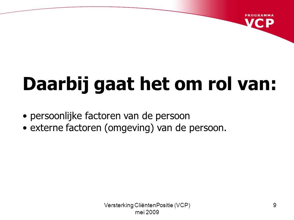 Versterking CliëntenPositie (VCP) mei 2009 9 Daarbij gaat het om rol van: persoonlijke factoren van de persoon externe factoren (omgeving) van de pers