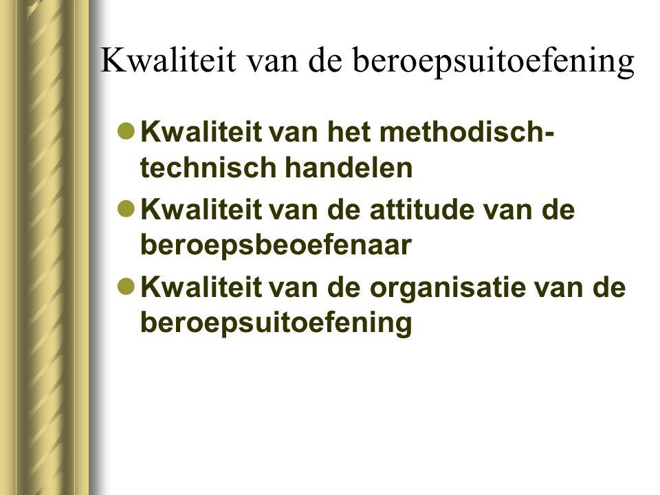 Kwaliteit van de beroepsuitoefening Kwaliteit van het methodisch- technisch handelen Kwaliteit van de attitude van de beroepsbeoefenaar Kwaliteit van