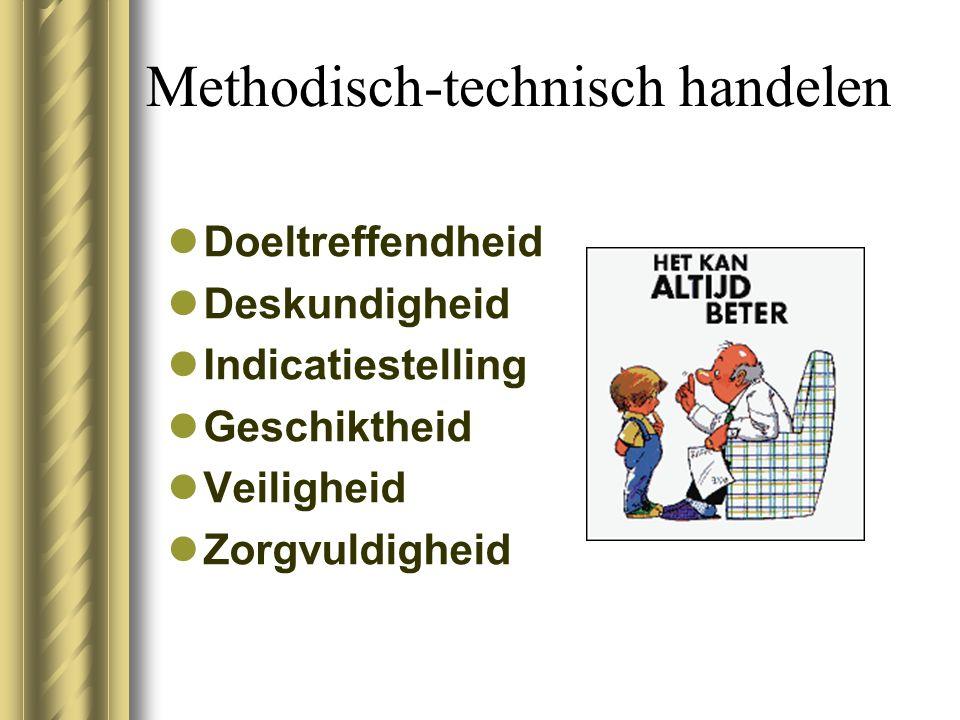 Methodisch-technisch handelen Doeltreffendheid Deskundigheid Indicatiestelling Geschiktheid Veiligheid Zorgvuldigheid