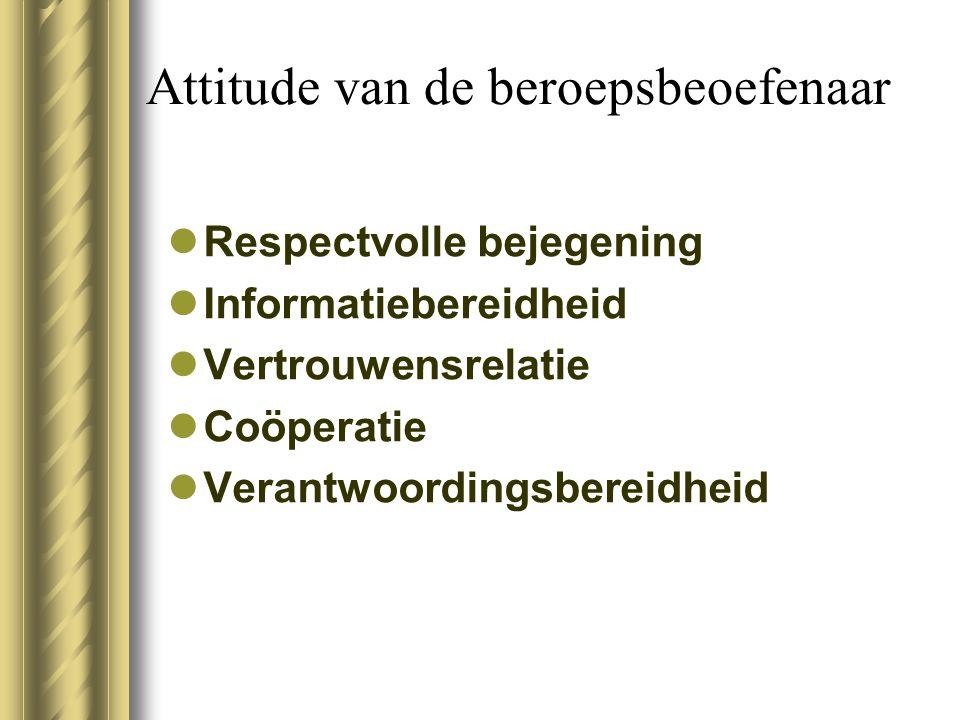 Attitude van de beroepsbeoefenaar Respectvolle bejegening Informatiebereidheid Vertrouwensrelatie Coöperatie Verantwoordingsbereidheid