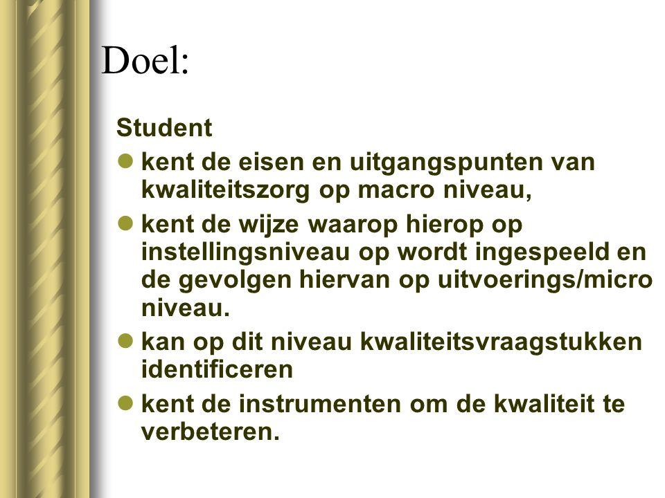 Doel: Student kent de eisen en uitgangspunten van kwaliteitszorg op macro niveau, kent de wijze waarop hierop op instellingsniveau op wordt ingespeeld