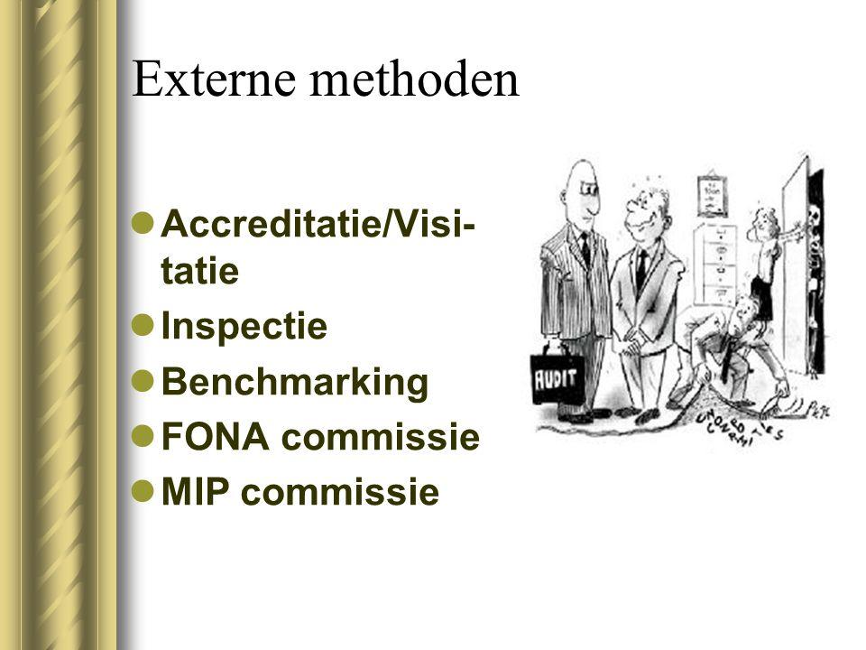 Externe methoden Accreditatie/Visi- tatie Inspectie Benchmarking FONA commissie MIP commissie