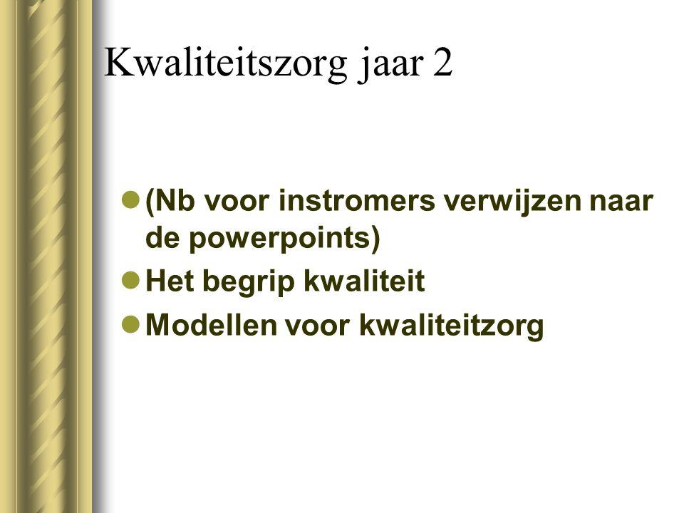Kwaliteitszorg jaar 2 (Nb voor instromers verwijzen naar de powerpoints) Het begrip kwaliteit Modellen voor kwaliteitzorg