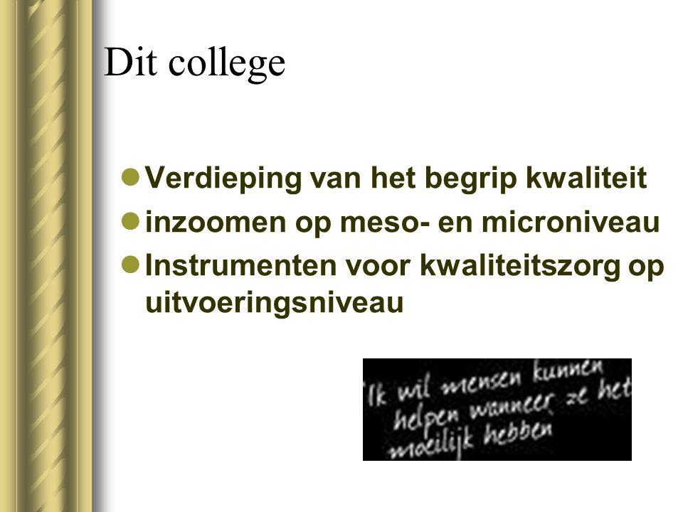 Dit college Verdieping van het begrip kwaliteit inzoomen op meso- en microniveau Instrumenten voor kwaliteitszorg op uitvoeringsniveau
